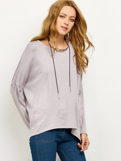 Drop Shoulder High-Low Sweater - GRAY S Mobile