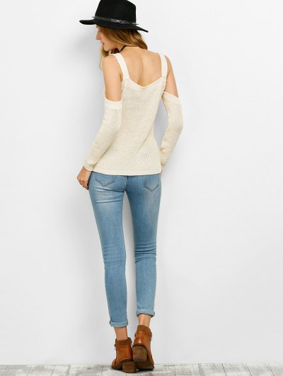 Cold Shoulder Loose Chunky Sweater - OFF-WHITE XL Mobile