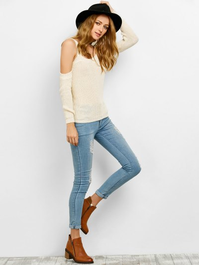 Cold Shoulder Loose Chunky Sweater - OFF-WHITE S Mobile