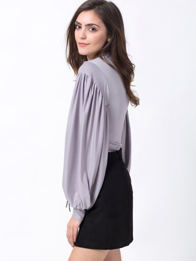Lantern Sleeve Fitted T-Shirt - GRAY L Mobile