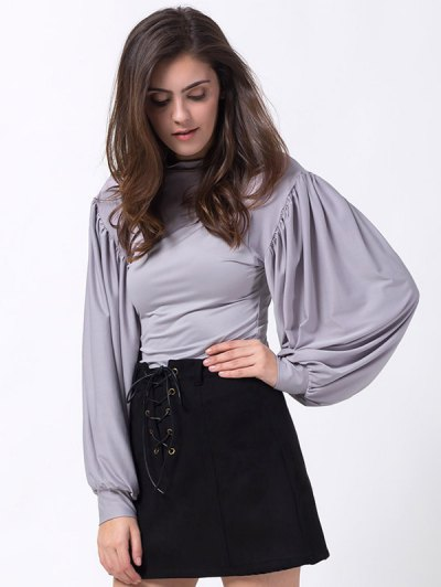 Lantern Sleeve Fitted T-Shirt - GRAY S Mobile