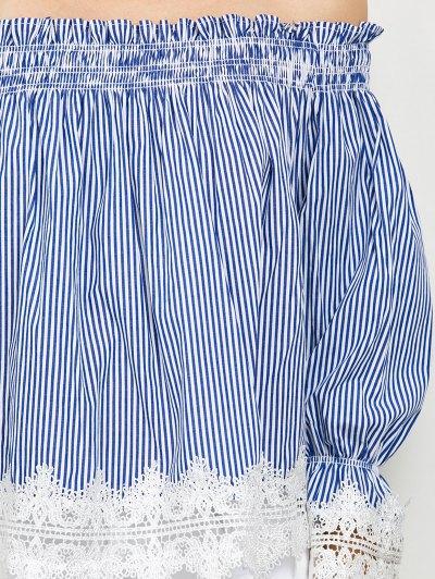 Lace Panel Off Shoulder Striped Blouse - STRIPE 2XL Mobile