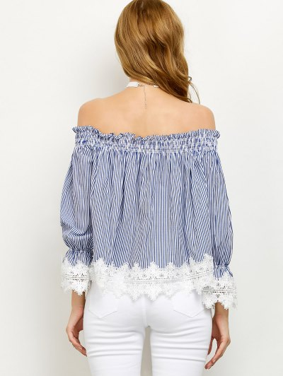 Lace Panel Off Shoulder Striped Blouse - STRIPE L Mobile