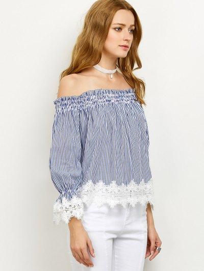 Lace Panel Off Shoulder Striped Blouse - STRIPE M Mobile