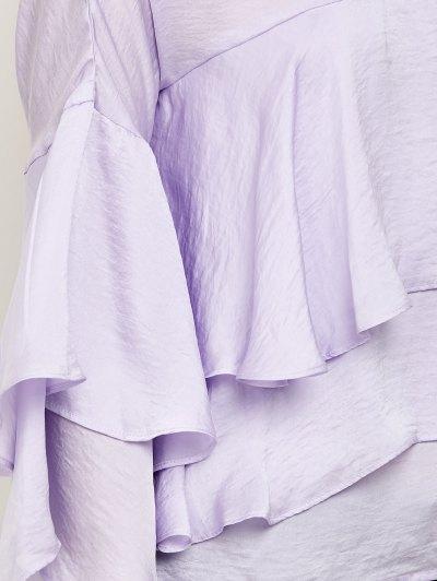 Jewel Neck Ruffles Layered Blouse - LIGHT PURPLE M Mobile