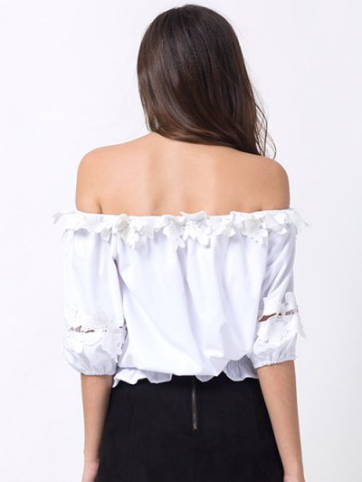 Off Shoulder Lacework Blouse - WHITE L Mobile
