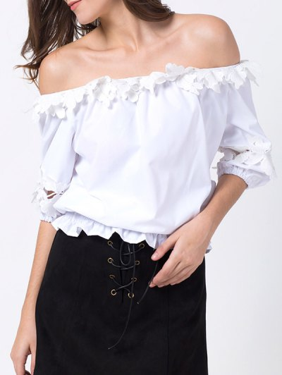 Off Shoulder Lacework Blouse - WHITE XS Mobile
