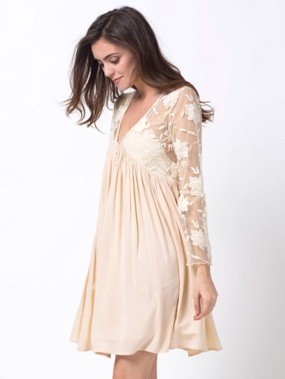 Flare Sleeve Deep V Lace Panel Dress - OFF-WHITE L Mobile