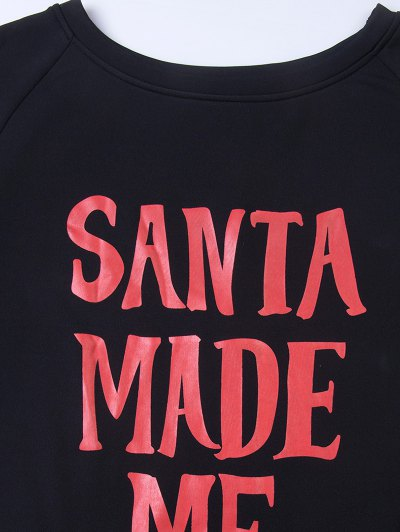 Santa Made Me Do It Christmas Sweatshirt - BLACK L Mobile