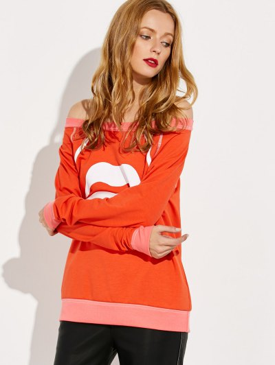 Lips Print Off Shoulder Sweatshirt - JACINTH S Mobile