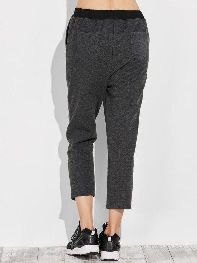 Pockets Drawstring Pants - GRAY L Mobile