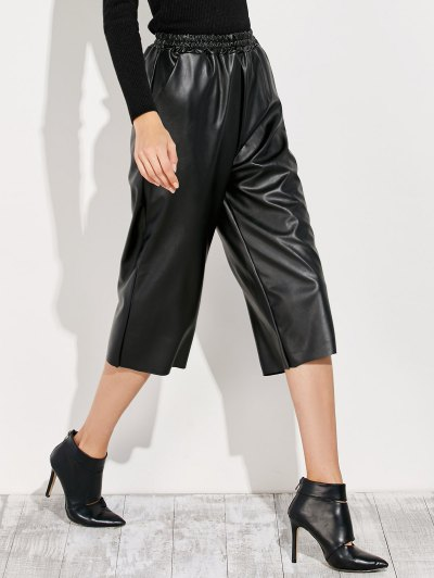 PU Leather Capri Pants - BLACK ONE SIZE Mobile