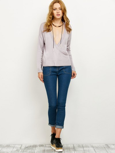 V Neck Surplice Jumper - SMASHING L Mobile