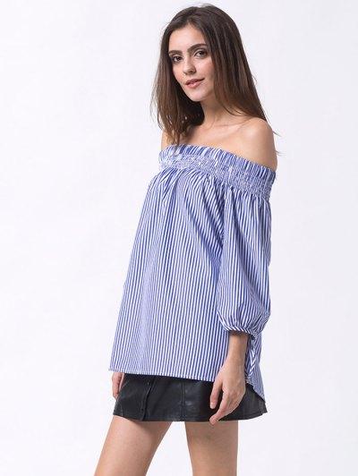 Off The Shoulder Smocked Striped Blouse - BLUE L Mobile