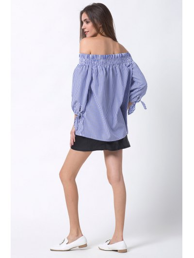 Off The Shoulder Smocked Striped Blouse - BLUE XS Mobile