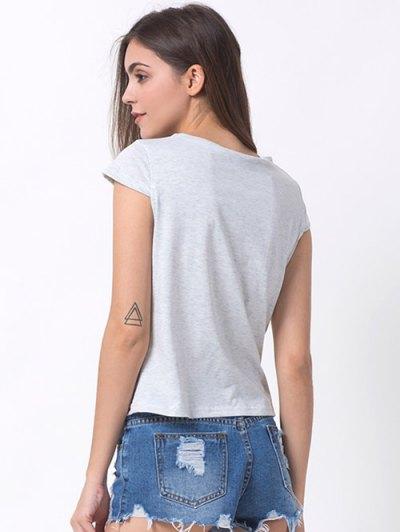 Casual Cartoon Print T-Shirt - GRAY XL Mobile