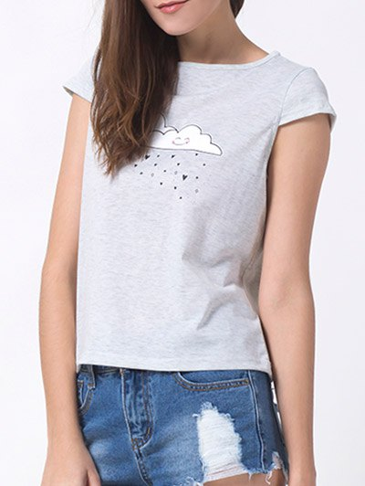 Casual Cartoon Print T-Shirt - GRAY S Mobile