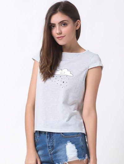 Casual Cartoon Print T-Shirt - GRAY XS Mobile