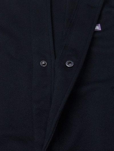 Patched Raglan Sleeve Baseball Coat - BLACK M Mobile