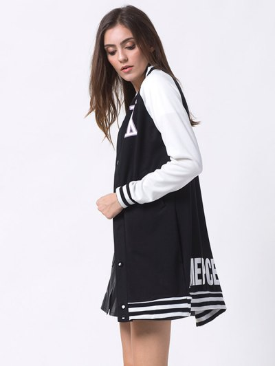 Patched Raglan Sleeve Baseball Coat - BLACK XS Mobile