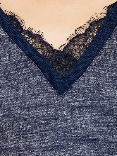 Loose Lace Spliced Sweatshirt - BLUE L Mobile