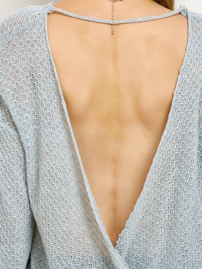 Wrap Cut Out Knitwear - GRAY M Mobile