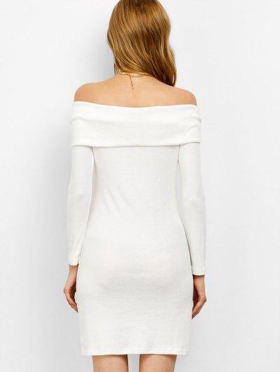 Off the Shoulder Mini Bodycon Dress - WHITE XL Mobile