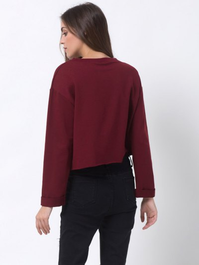 Girls Bite Back Graphic Cropped Sweatshirt - BURGUNDY 2XL Mobile