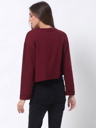 Girls Bite Back Graphic Cropped Sweatshirt - BURGUNDY L Mobile