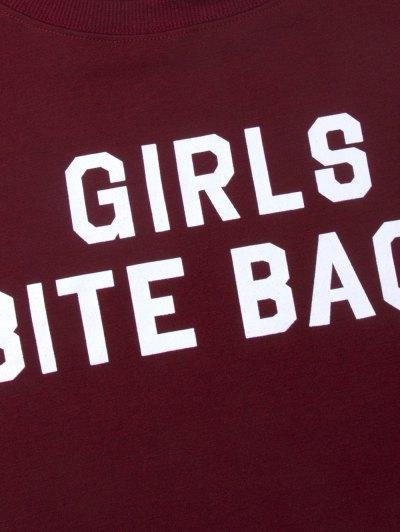 Girls Bite Back Graphic Cropped Sweatshirt - BURGUNDY XS Mobile