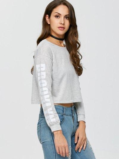 Boxy Cropped Sweatshirt - GRAY L Mobile