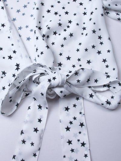 Stars Print Wrap Crop Top - WHITE L Mobile