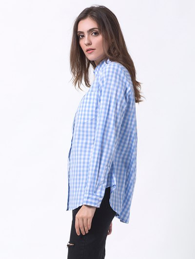 Checked Pocket Shirt - BLUE AND WHITE 2XL Mobile