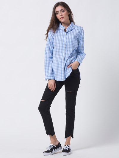 Checked Pocket Shirt - BLUE AND WHITE XL Mobile