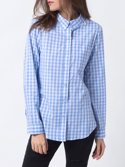 Checked Pocket Shirt - BLUE AND WHITE L Mobile