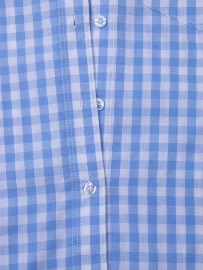 Checked Pocket Shirt - BLUE AND WHITE M Mobile