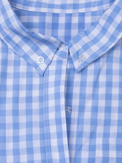 Checked Pocket Shirt - BLUE AND WHITE XS Mobile