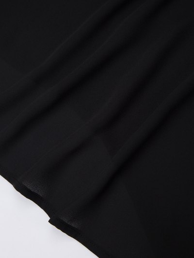 Cold Shoulder Chiffon Top - BLACK 2XL Mobile