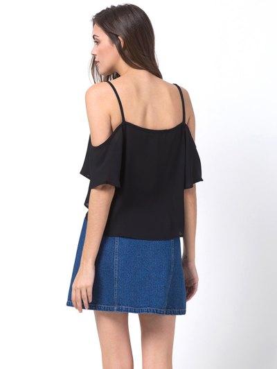 Cold Shoulder Chiffon Top - BLACK XL Mobile