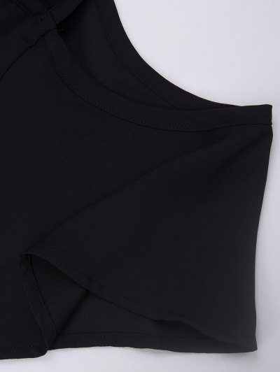 Cold Shoulder Chiffon Top - BLACK L Mobile
