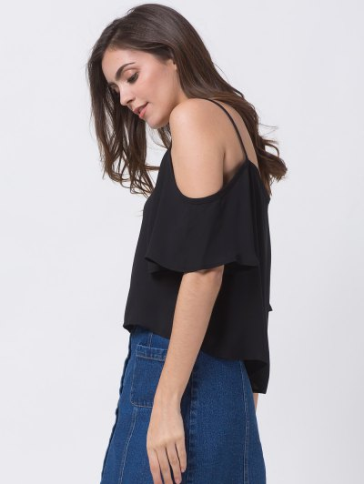 Cold Shoulder Chiffon Top - BLACK S Mobile