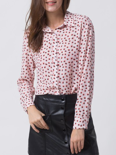 Chiffon Printed Shirt - PINK XL Mobile