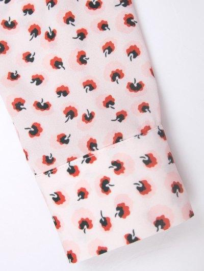 Chiffon Printed Shirt - PINK M Mobile