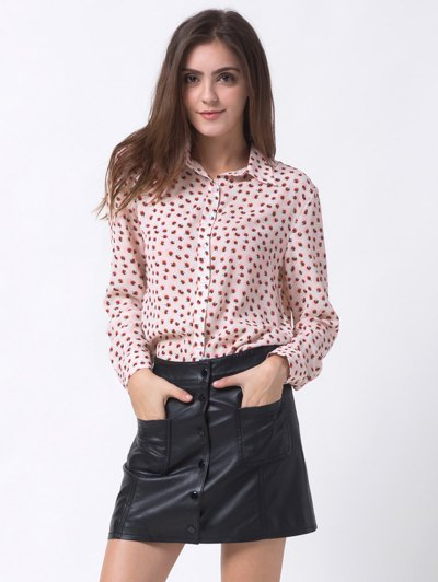 Chiffon Printed Shirt - PINK XS Mobile