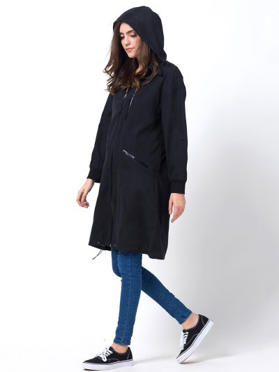 Full Zip Trench Coat With Pockets - BLACK L Mobile