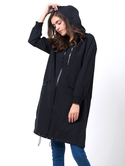 Full Zip Trench Coat With Pockets - BLACK M Mobile