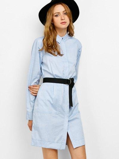 Long Sleeve Belted Shirt Dress - BLUE 2XL Mobile