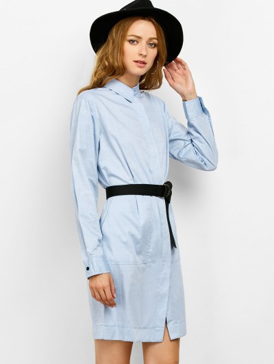 Long Sleeve Belted Shirt Dress - BLUE M Mobile