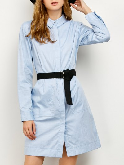 Long Sleeve Belted Shirt Dress - BLUE S Mobile