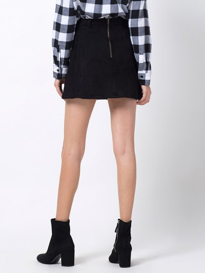 A Line Faux Suede Mini Skirt - BLACK XL Mobile